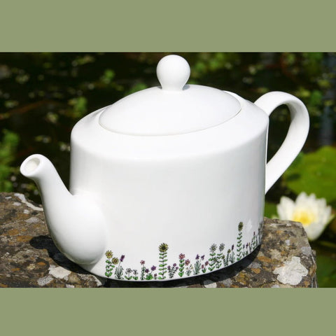Flowers oval Tea Pot