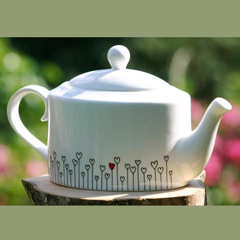Hearts oval Tea Pot