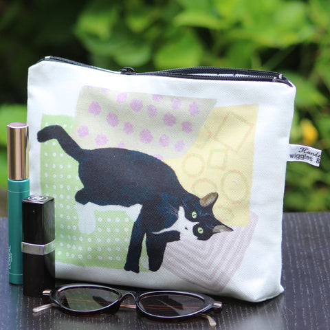 Makeup / Personal Bag: playful cat pink/yellow