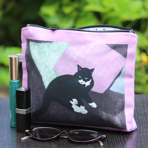 Makeup - Personal Bag: sitting cat charcoal/pink