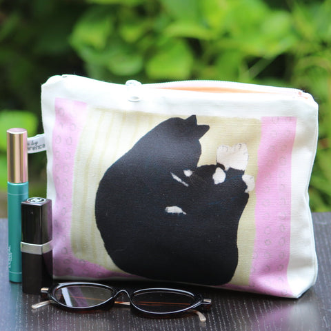Makeup / Personal Bag: sleeping cat pink/yellow