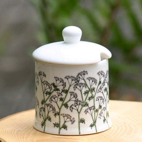 Cow Parsley Sugar/Jam Pot with lid