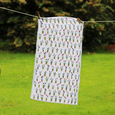 Flower Pots Tea Towel