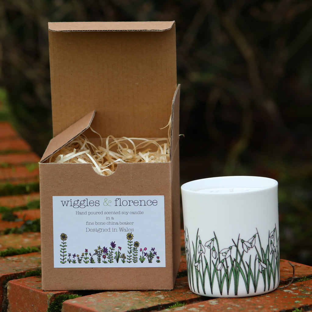 Snowdrops beaker filled with scented candle