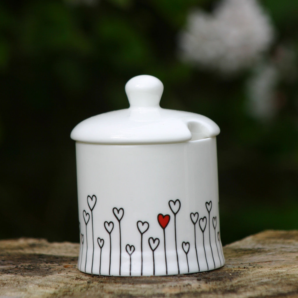 Hearts Sugar/Jam Pot with lid