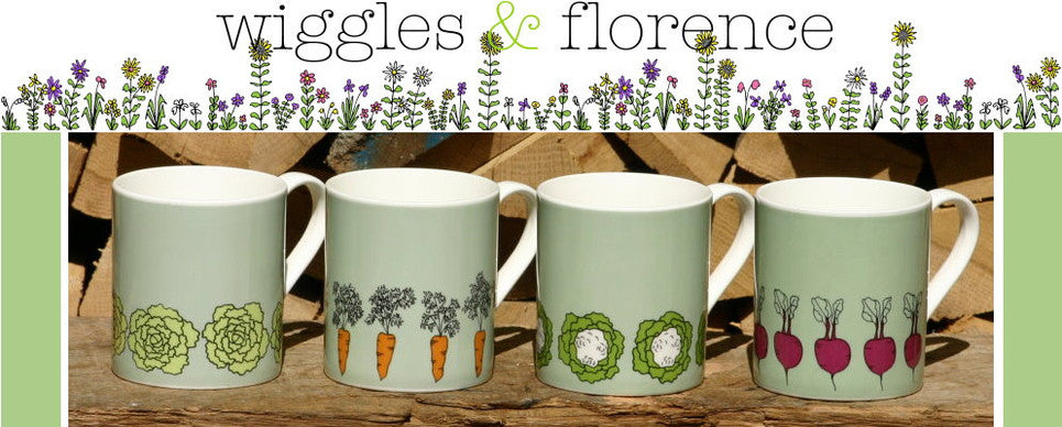 wiggles and florence kitchen garden mugs