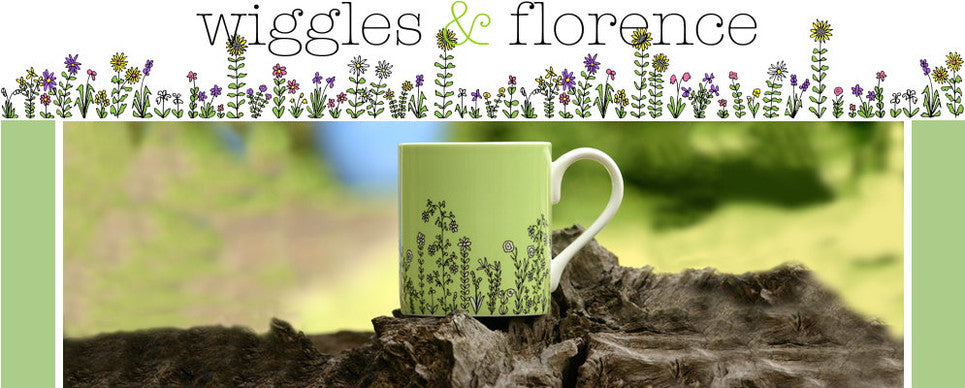 wiggles and florence border pale lime mug