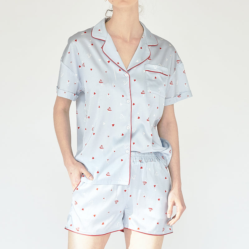 Love Printed Silk Short Pyjamas Set - 2 Pieces - Not Just Pajama
