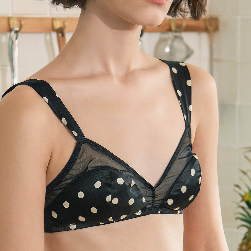 Silk Bra - Black White Dot - Not Just Pajama