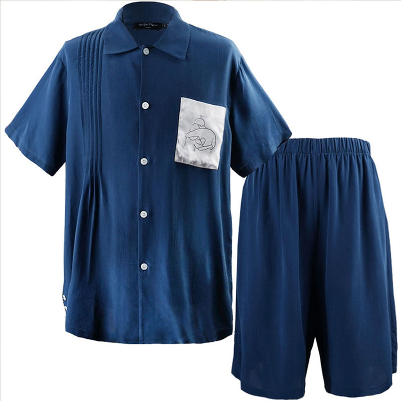 Pocket EmbroideryShort Pajama Set - Not Just Pajama