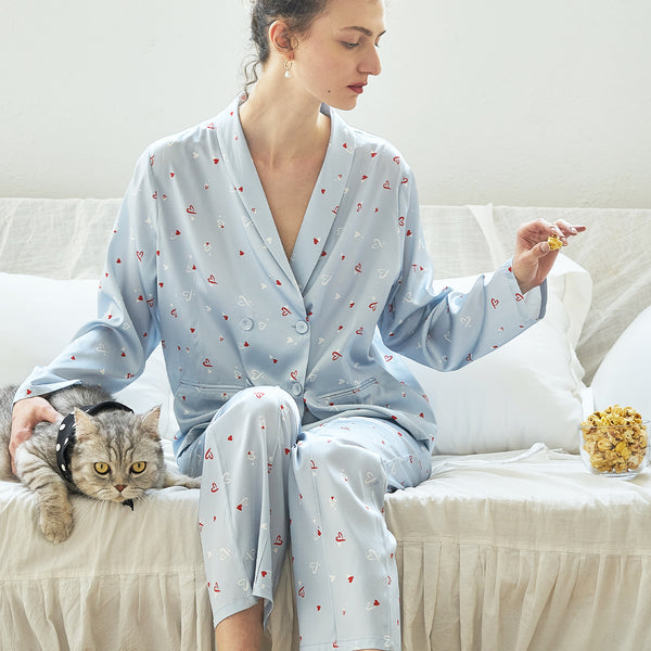 Love Printed Silk Suit Pyjamas Set - 2 Pieces - Not Just Pajama