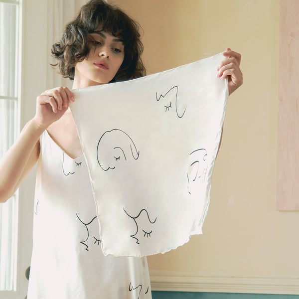 Face Line Art Printed Silk Scarf - Not Just Pajama