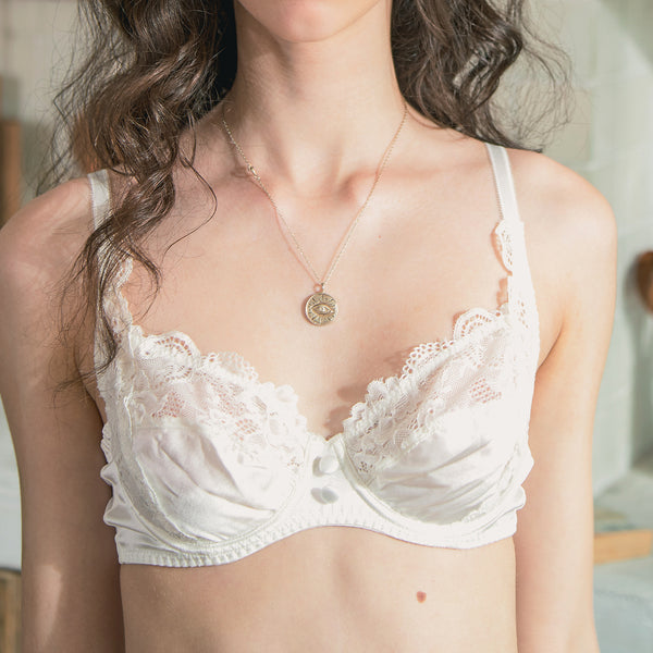 Silk Lace Bra - White - Not Just Pajama
