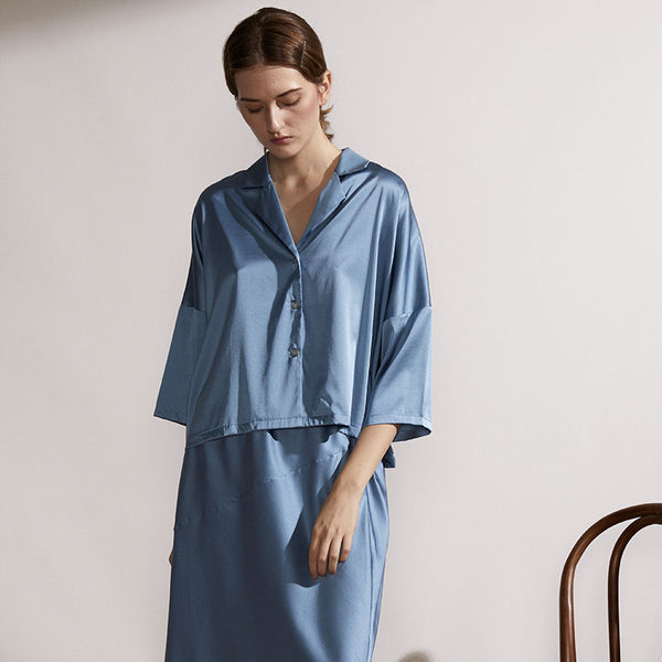 Silk Dress Suit - Moonlight Blue - Not Just Pajama