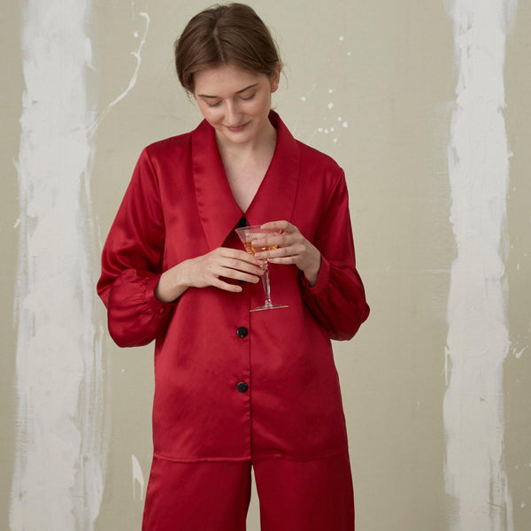 Christmas Red Pointed Collar Long Sleeves Long Pants Silk Pajama Set - Not Just Pajama