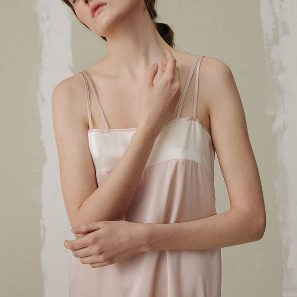 Silk Color Block Dress - Dry Rose - Not Just Pajama