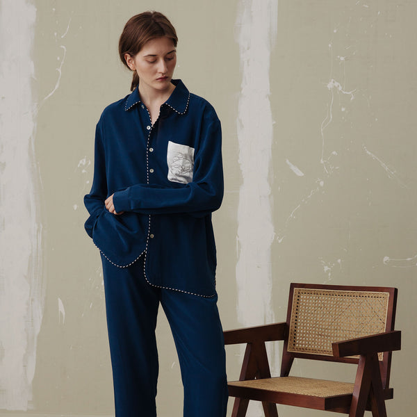 Pocket Embroidery Long Pajama Set - Not Just Pajama