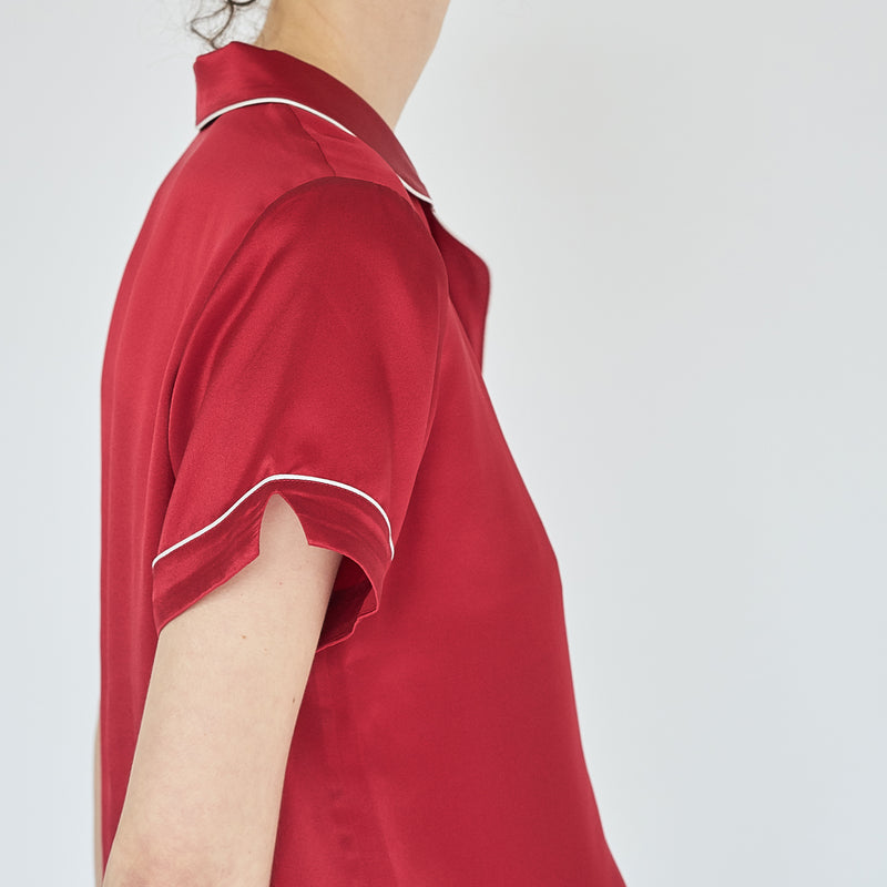 Love Embroidery Silk Short Pyjamas - Red - Not Just Pajama