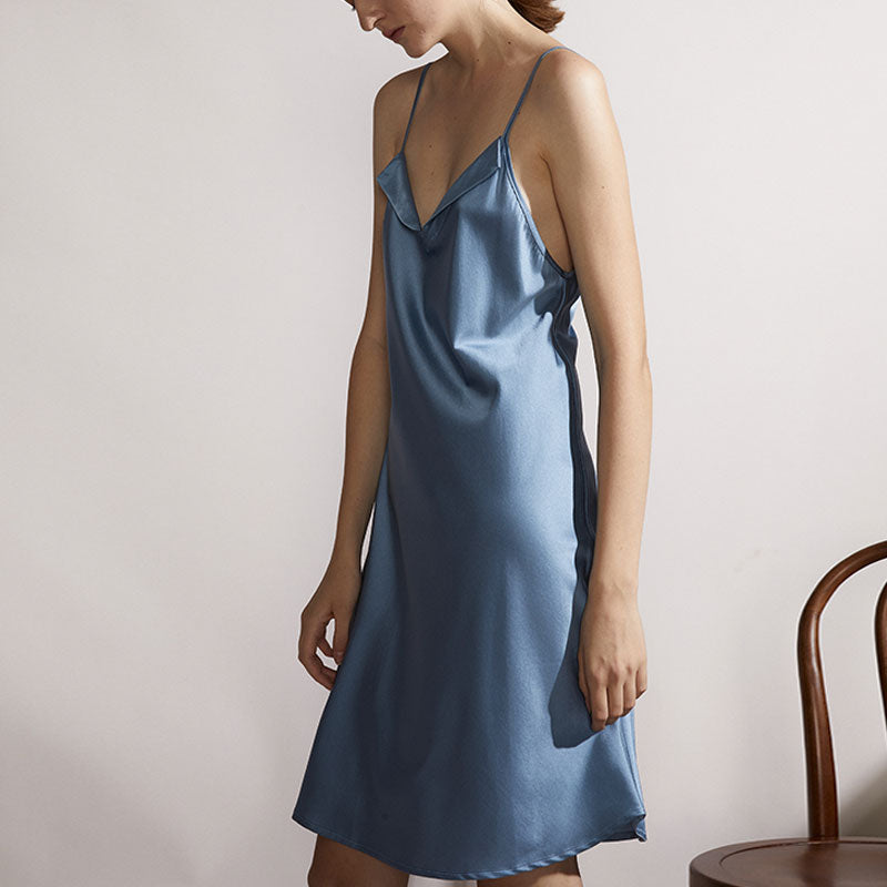 Silk Lapel Sling Dress - Moonlight Blue - Not Just Pajama