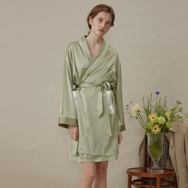 French Style Silk Robe Dressing Gown - Not Just Pajama
