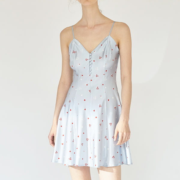 Love Printed Silk Chemise Dress - Not Just Pajama