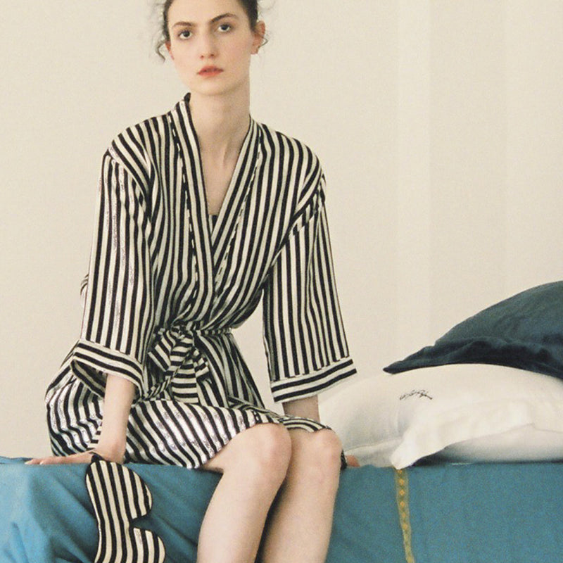 Striped Silk Robe - Not Just Pajama