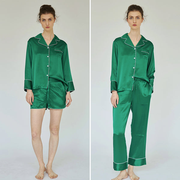 Women Silk essentials Pajama Set - Dark Green