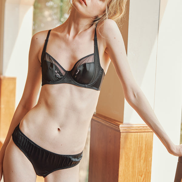NEW | Muse Series | Silk Bras & Underpants with Special Embroidary (2-Piece Set) - Not Just Pajama