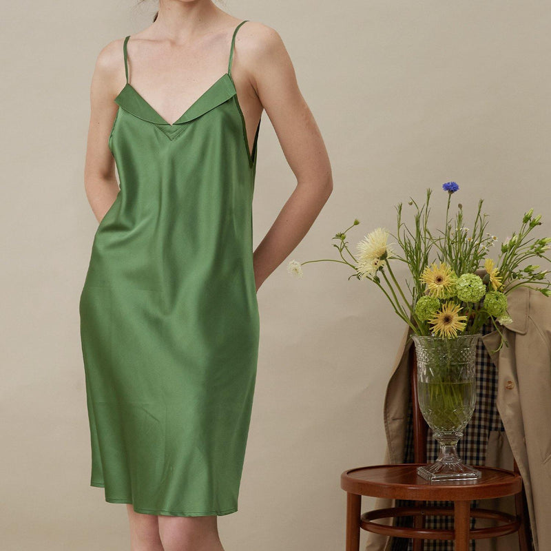 French Style Silk Dress - Green - Not Just Pajama