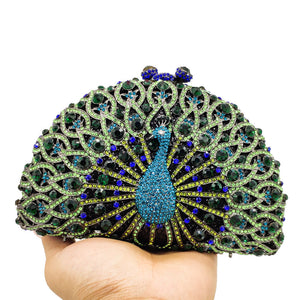 PEACOCK Clutch Purse Bling Rhinestone Clutch Crystal Evening Bag