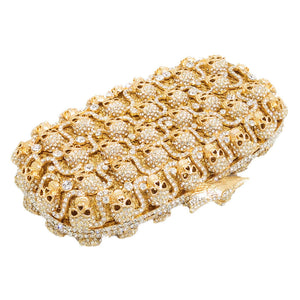 New skull Rhinestone Hardware Box Clutch For Bridal Wedding Purses