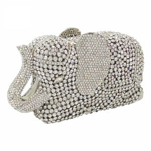 Elephant Silver Rhinestone Hardware Box Clutch For Bridal Wedding Purses