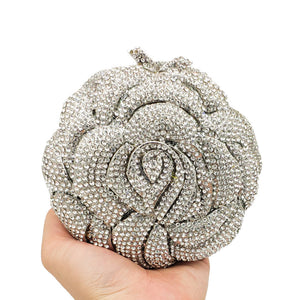 Milanblocks Luxury Rose Full Crystal Rhinestone Evening Clutch