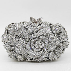 Rose Flower Leave Rhinestone Minaudiere Metal Box Clutches For Wedding Gift
