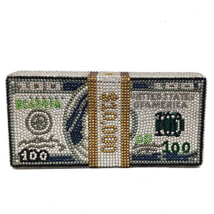 New USD Rhinestone Hardware Box Clutch handbag