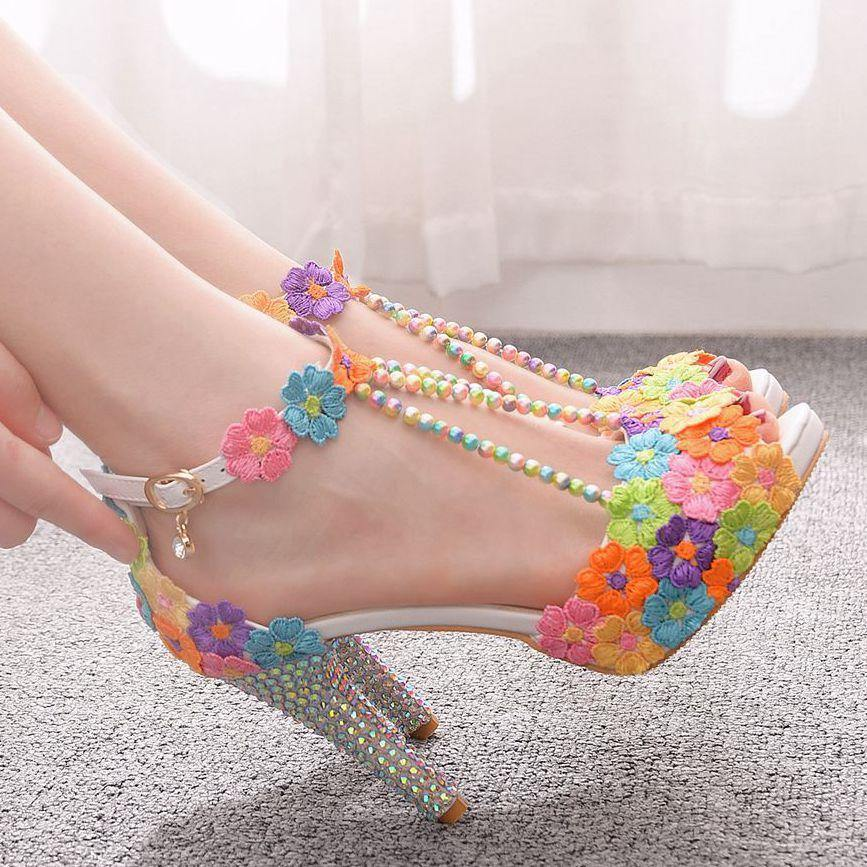 10cm Pep toe Beaded water drill waterproof platform high heel sandals waterproof platform sandals thin heel Lace Beaded Wedding Shoes - onlinefashionresource