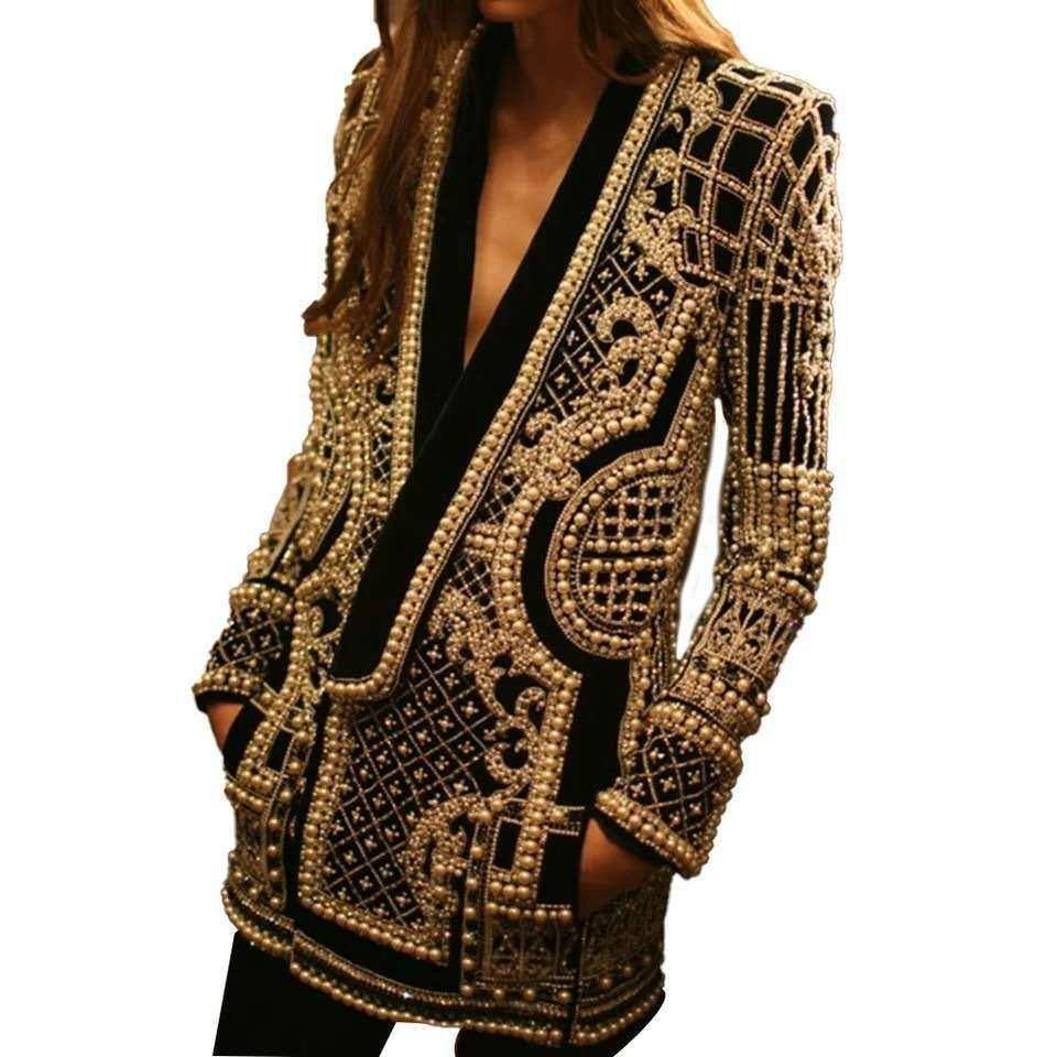 2021 Cross-border European and American V-neck long-sleeved suit jacket with beaded print women's jacket (factory spot) - onlinefashionresource