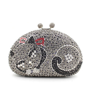 Women Kisslock Cat Rhinestone prom Clutch-Handbags & Purses - MILANBLOCKS