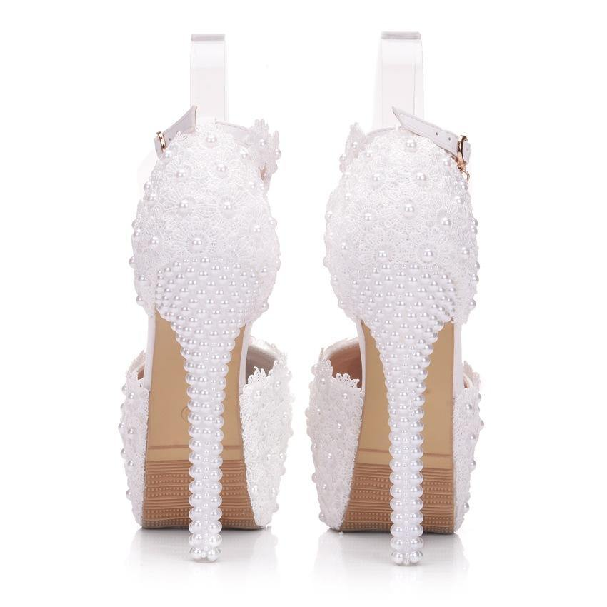14cm white lace wedding shoes thin heel round head waterproof platform shoes large size white wedding shoes sandals - onlinefashionresource