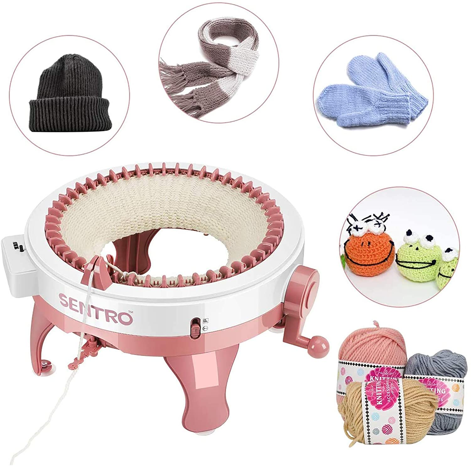 22//40//48 Needles Knit Loom Machine with Row Counter Knitting Machine Smart Weaver Knit Round Loom for Adults Kids DIY Knit Scarf Hat Sock 22 Needles Pink Knit Plate Rotary Double Knit Machine