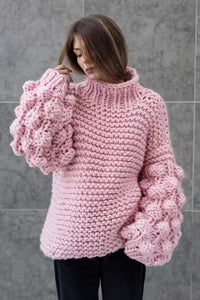 womer's clothing top weater loose handwork puff sleeve pullover knit coats autumn winter