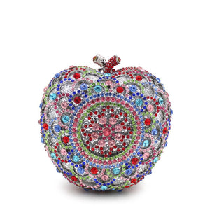 Apple Shape Bridal Metal Minaudiere Crystal Rhinestones Clutch Purse Bags-Handbags & Purses - MILANBLOCKS
