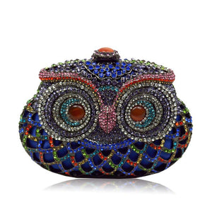 Handmade Colorful Crystal Owl Full Crystal Hollow Out Evening Clutch Bag-Handbags & Purses - MILANBLOCKS