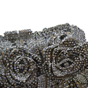 Bling Rose Clutch Purse Women Flower Rhinestone Crystal Clutch Bag Silver black-Handbags & Purses - MILANBLOCKS