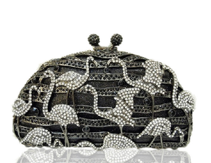 New Bling 3D Crane Kiss Lock Purse and Handbag Rhinestone Crystal Evening Clutch Bags-Handbags & Purses - MILANBLOCKS