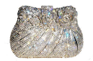 Luxury Silver Hollow Rhinestone Box Clutch-Handbags & Purses - MILANBLOCKS