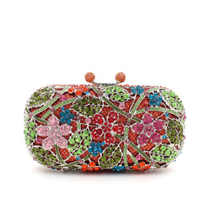 Flower Leave Rhinestone Minaudiere Metal Box Clutches For Wedding Gift-Handbags & Purses - MILANBLOCKS