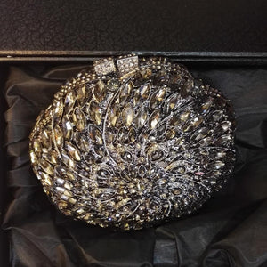 Flower  Rhinestone Crystal Minaudiere Bridal Bag-Handbags & Purses - MILANBLOCKS