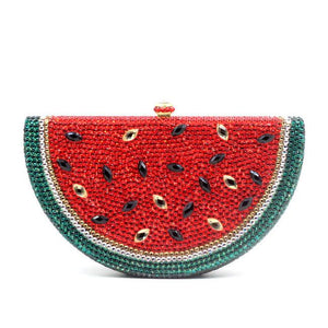 Milanblocks Rhinestone Fruit Watermelon Minaudiere  Box Evening Clutch Purse-Handbags & Purses - MILANBLOCKS