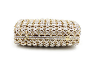 Gold Embellished Rhinestone Crystal Minaudiere Bridal Clutch Bag-Handbags & Purses - MILANBLOCKS